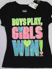 NWT Justice girls size 6 7 10 shirt black neon letters girls rule tee NEW