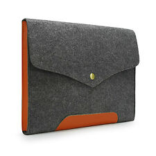 "Gray Felt Macbook Sleeve Case Real Leather Bottom Bag for 11"" 13"" 15""  MacBook"