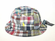 Polo Ralph Lauren Reversible Plaid Madras Bucket Fishing Hat Tan Khaki S/M
