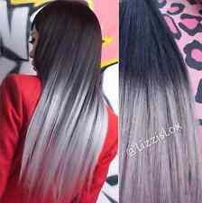 """Clip In Human Hair Extensions 20"""" Black Grey Ombre Dip Dye Gray Balayage"""
