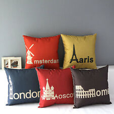 Vintage World Famous City Printed Decorative Throw Pillow Case Cushion Cover 17""