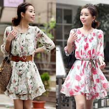 Beautiful Summer Office Lady's Women's Dresses Flower Printing Floral Dresses