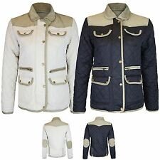 New Womens Plus Size Quilted Padded Ribbed Collar Winter Jackets Coats 6-24