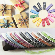 5/25YDS LENGTHS SMALL GINGHAM RIBBON - 30 COL - WIDTHS 10MM 15MM FREE P&P MOLY