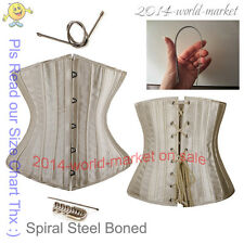 24 Spiral Steel Boned Black Satin Underbust Lace Waist training Corset S-6XL #Y