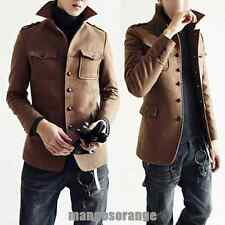 HOT 2Color Men Slim Fit Clothes Warm Winter Jackets Wool Blend Coat--UK  EW