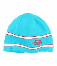 NWT North Face Logo Youth Fleece Lined Winter Beanie Hat Turquoise Blue Striped