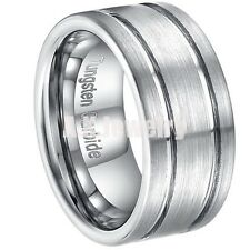 10MM Mens Brushed Tungsten Carbide Two Groove Wedding Band Ring Size 8-13