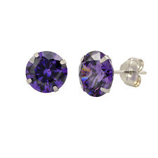 14k White Gold Purple Amethyst Cubic Zirconia Stud Earrings Round Birthstone CZ