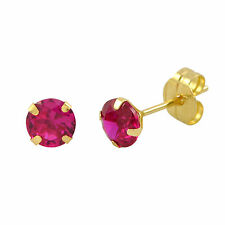 14k Yellow Gold Red Ruby Cubic Zirconia Stud Earrings Round Birthstone CZ