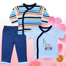 Very Cute Blue Striped rainbow Baby&Toddler Clothing 3 Pack Set Size 0-9 Mnths