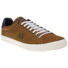 New Mens Fred Perry Taupe Howells Twill Canvas Trainers Lace Up