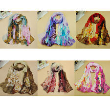 Fashion Print Women Lady Flower Soft Silk Chiffon Neck Scarf Wrap Shawl Stole