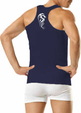 MENS DRAGON PRINTED RIBBED COTTON GYM FITTED TANK TOP RACER BACK VEST **