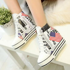 Womens Girls Hidden Wedge Heel High Top Ankle Boot Fashion Sneaker Leather Shoes