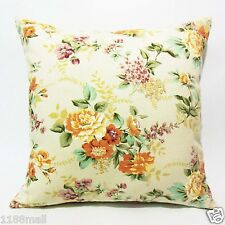 FFA-102 FLORAL ON LIGHT IVORY Quality Canvas Pillow Cushion Cover Custom Size