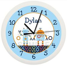 BABY BOTS ROBOT WALL CLOCK NURSERY BEDDING PERSONALIZED BOYS BABY SHOWER GIFT