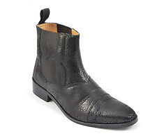 Mens Chelsea Boots Ankle Slip-on Dealer Snake Print Leather Shoes Pull-on Size