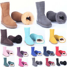 Men Lady Top Quality Shoes Winter Warm Real Leather Classic Mid-calf Snow Boots