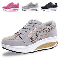 Womens Girls Lace Up Platform Punk Gothic Running Floral Casual Shoes Sneakers