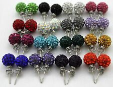 Premium Czech Crystal Shamballa Silver Plated Stud Earring 8mm Clay Disco Ball