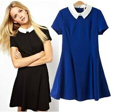 J683 black blue cotton short sleeves lolita mini dress gothic white collar retro