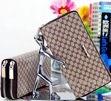 New Double Zipper Long Women's PU Leather Wallet Clutch Purse Handbag Gift Bags