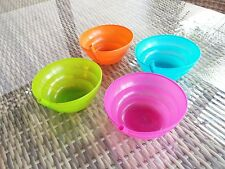 2 Kid Baby SIP BOWL with BUILT IN STRAW Cereal Feed Plate Pink Green Orange Blue