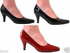 WOMENS MENS LEATHER LOOK FASHION POINTED SMART COURT HEEL SHOES SIZE 3-14 NEW
