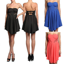 MOGAN Cut Out Bustier SKATER DRESS Strapless Bandeau Sweetheart Cocktail Party