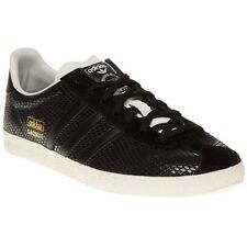 New Womens adidas Black Gazelle Og Leather Trainers Animal Lace Up