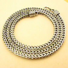 "5MM 925 STERLING SILVER EP BALI WHEAT CHAIN OXIDIZED NECKLACE 17 1/2"" to 27 1/4"""