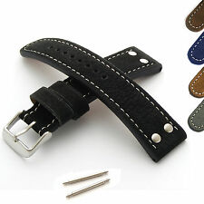 Mens Riveted Leather Watch Strap - Military/Aviator - Genuine Buffalo Suede