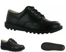 GIRLS KICKERS KICK LO Y CORE BLACK LEATHER WORK SCHOOL SHOES UK 3-6