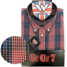 Warrior OiOi7 Short Sleeve Button Down Shirt LARGO Mod Skinhead Red Blue Grey