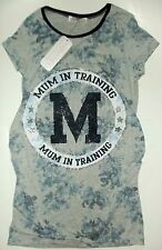 Ladies Maternity T Shirt in Grey & Blue with 'Mum in Training' detail