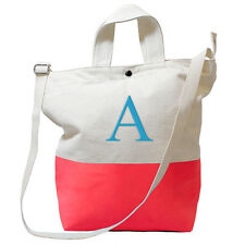 Personalized Coral Color Dipped Canvas Tote