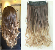 Synthetic dip dye Clip in Ombre Hair Extensions Straight Curly Wavy brown blonde