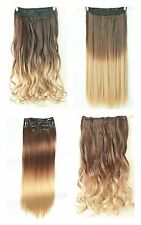 "22"" Full Head Clip in Hair Extension Ombre One Piece Wavy Curly Straight Dip Dye"