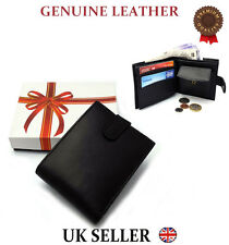 MENS REAL LEATHER LUXURY SOFT BLACK QUALITY WALLET PURSE CREDIT CARD HOLDER