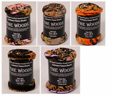 """The Woods Cashmere Blanket / Fleece Camo Twin Size 60"""" x 80"""" Assorted Colors"""