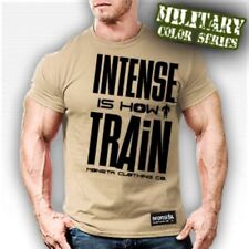 NEW Mens Monsta Clothing INTENSE IS HOW I TRAIN Bodybuilding Workout Gym Tee Tan