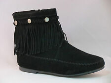 New Womens Cute Ankle Faux Suede Fringe Beaded Tassle Moccasin Dress Boots