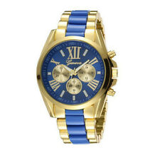 Geneva Fashion Women Lady Blue Gold Stainless Steel Quartz Analog Wrist Watch