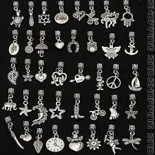 Tibetan Mix Dangle Silver Charms Fit European Bracelet Bails Lots Beads Pendants