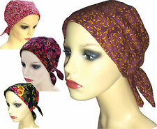 PADDED COTTON HEAD SCARVES. Warm shades.  Headwear for Cancer, Chemo, Hairloss 2