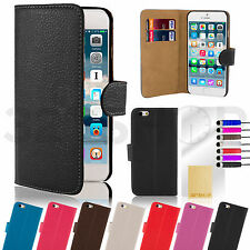 GENUINE LEATHER WALLET CASE COVER FOR iPHONE 5 5S 6 PLUS SCREEN PROTECTOR