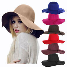 Sexy women Wide winter hats Brim Wool Felt Bowler Fedora Hats Soft Floppy Cloche