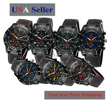 Fashion Black Stainless Steel Luxury Sport Analog Quartz Mens Wrist Watch