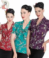 HELL BUNNY 40s 50s style BIRDY retro BLOUSE shirt top